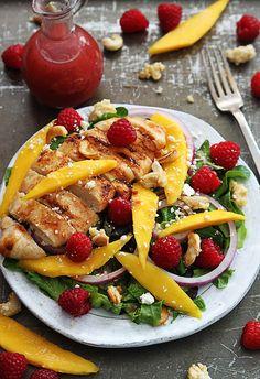 Raspberry Mango Chicken Cashew Salad - add some avocado!