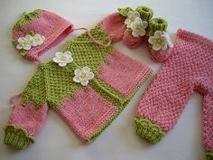 Knitted pink baby set Pink Strawberry baby girls by MiaPiccina, $140.00