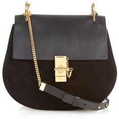 Chloé Drew medium leather and suede shoulder bag (7.630 RON) ❤ liked on Polyvore featuring bags, handbags, shoulder bags, bolsas, clutches, black, man leather shoulder bag, genuine leather shoulder bag, suede shoulder bag and shoulder handbags