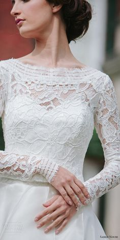 sareh nouri bridal fall 2016 long sleeves sweetheart illusion jewel neck a line ball gown wedding dress (mona lisa) fv elegant romantic
