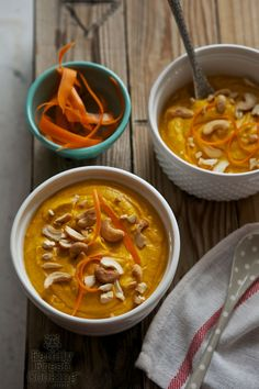 Creamy Carrot Cashew Ginger Soup | A very satisfying vegan soup! FamilyFreshCooking.com