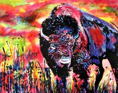 Just look at how he uses the colors in this! Absolutely amazing.  Bison – John Bramblitt