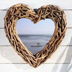 Heart shaped driftwood mirror from By the Sea | Wall mirrors - 10 ...