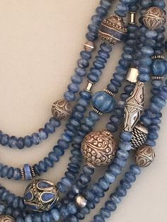 Multi-Strand Kyanite and Mixed Silver Statement Necklace – Sharon Cipriano Jewelry