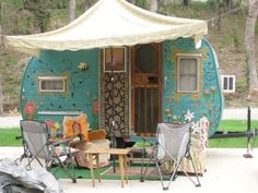lovely painted vintage travel trailer