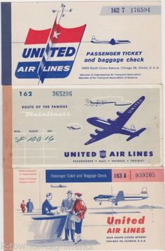 United Airlines Vintage Graphic Advertising Aviation Airplane Ticket Books 2 | eBay