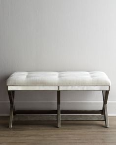 """""""Mary Jane"""" Bench at Horchow. Add some understated glamour to your space with this refreshingly modern bench. The ivory tufting framed by antiqued-mirror inlays combines function and fashion"""