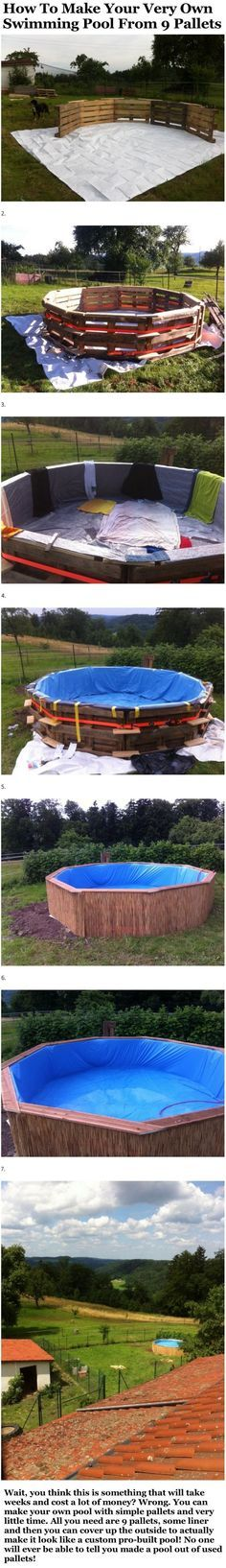 How To Make Your Very Own Swimming Pool From 9 Pallets pool backyard diy craft…