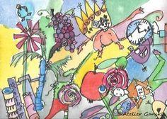Atelier Ganski - Zeichnung handcoloriert mit Aquarellfarben Bowser, Artworks, Fictional Characters, Watercolor Painting, Atelier, Pencil, Sketches, Kunst, Fantasy Characters