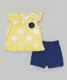 Look at this #zulilyfind! Yellow & Navy Polka Dot Angel-Sleeve Top & Shorts by Baby Essentials #zulilyfinds