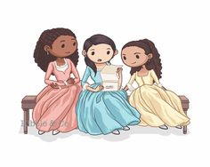 "Hamilton Musical - Schuyler Sisters, Eliza Hamilton, Helpless Art Print (8 x 10). While we all love the ""werk"" pose from The Schuyler Sisters, why not try for another scene from Hamilton the Musical-from ""Helpless"" instead? Watch Eliza open a love letter from Hamilton while Angelica and Peggy watch excitedly :) You will receive a high-quality landscape fine art print on 120lb matte vellum-textured cover stock, printed using advanced Indigo technology. The print is of archival quality…"
