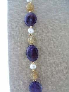 Amethyst necklace yellow citrine necklace with by Sofiasbijoux