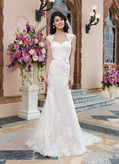 Sincerity wedding dress Style 3821   Tulle, alencon lace fit and flare dress highlighted by a modest neckline.