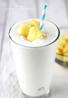 Skinny pineapple smoothie -Enjoy the amazing flavor of this pineapple treat, but you don't have to worry about it being high in sugar, fat, and calories.