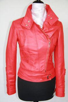Red leather biker jacket.