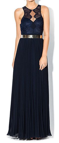Navy pleated gown