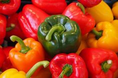 What do Red, Yellow, Orange, and Green Bell Peppers have in common? Explore what causes the different colors and health benefits. Feta, Fruits And Vegetables, Veggies, Steamed Broccoli, Vegetable Puree, Green Bell Peppers, Stuffed Sweet Peppers, Nutrition Education, Nutrition Guide