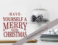 Have yourself a merry little christmas vinyl wall decal words holiday
