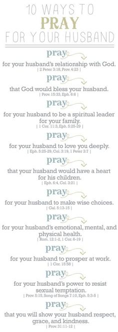 10 Ways to pray for your husband: