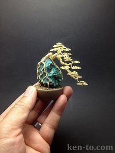 Gold cascade wire bonsai tree on rock by Ken To by KenToArt on deviantART