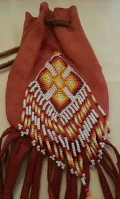 VINTAGE LEATHER BEADED FRINGED DRAWSTRING POUCH NECKLACE