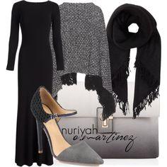 Hijab Outfit by Nuriyah O. Martinez      Badgley Mischka black evening dress €105-renttherunway.com    Dolce Gabbana outerwear €1.995-mytheresa.com    L.A.M.B. pointed toe pumps €79-bluefly.com    Lipsy grey purse €34-lipsy.co.uk    Isabel Marant cashmere scarve €490-forwardforward.com