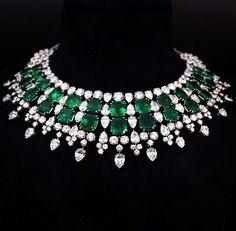 Diamond & emerald necklace, Harry Winston.                                                                                                                                                      More
