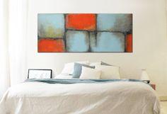 XL Abstract painting  Orange Blue landscape  door RonaldHunter, $419.00
