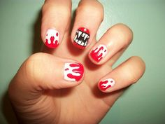 Here check out the collection of 15 Halloween blood nail art designs & ideas of Make blood images on your nails, use white and red nail paints for a clearer look. Stay connected for more Halloween updates. Fancy Nails, Cute Nails, Pretty Nails, Essie, Halloween Nail Designs, Halloween Nail Art, Halloween Party, Halloween Vampire, Halloween Makeup