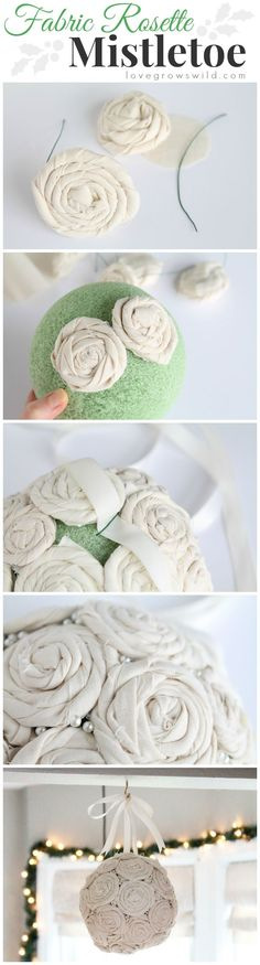 Steal some smooches underneath this beautiful DIY Fabric Rosette Mistletoe Ball! Learn how to make one for your home at LoveGrowsWild.com #make #decor