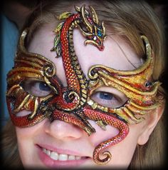 Red Gold Dragon Mask  This is awesome!