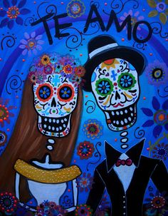 WEDDING COUPLE MEXICAN PAINTING   lovers,partner,bride,marriage,day of the dead, skull,dia de los muertos, calavera, painting, prints, sale, prisarts, pristine,cartera,turkus,mexican,folk,art,artist,skull ,cool, sale ,florals, flowers