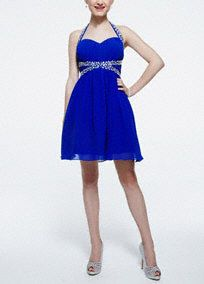 This royal blue masterpiece is sure to make your homecoming a night to remember! Halter bodice features sparkling beaded straps and X detail at waist. Short chiffon skirt a... Learn more