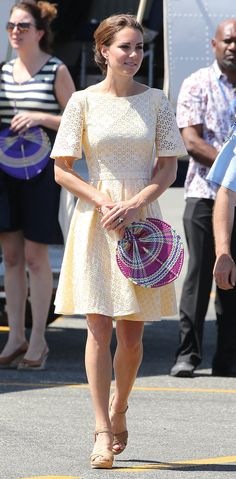 Kate Middleton in an eyelet dress by independent designer Rebecca English