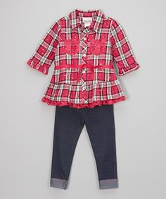 Loving this Pink Plaid Button-Up & Denim Leggings - Toddler & Girls on #zulily! #zulilyfinds