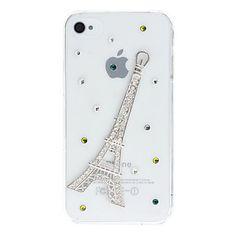 Diamante olhar 3D Projeto de torre Eiffel Transparente PC Hard Case para iPhone 4/4S – BRL R$ 18,05