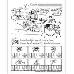 Fichier PDF téléchargeable En noir et blanc seulement 1 page  L'élève doit trouver et compter les objets dans le dessin. Il trace un X dans la bonne case. Réponse: 1 coffre, 5 signes de pirate, 3 perroquets, 2 chapeaux, 1 navire et 4 palmiers.