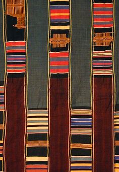 "Ewe Kente Cloth (#ekc-4) Ewe people, Ghana, mid-20th cent. 20-strip cotton kente cloth (partial view shown) (102""l. x 70""w.)"