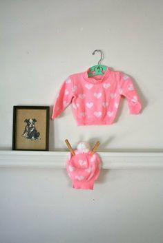 vintage baby's sweater set I HEART YOU sweater & hat / by MsTips