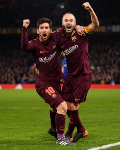 """""""Lionel Messi celebrates with Andres Iniesta after scoring his sides first goal during the UEFA Champions League Round of 16 First Leg match between Chelsea FC and FC Barcelona at Stamford Bridge on. Lional Messi, Neymar, Uefa Champions League, Football 2018, Cr7 Junior, Lionel Messi Barcelona, Argentina National Team, Messi Photos, Russia 2018"""