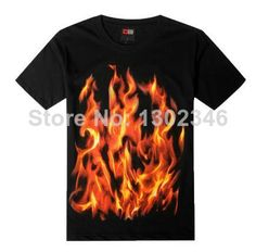 f4f5912bec7 Summer men s short-sleeved t-shirt cotton t-shirt loose hip-hop youth tide  flame animal print short-sleeve Rock