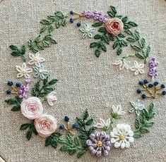 Etsy Embroidery, Hand Embroidery Projects, Embroidery On Clothes, Embroidery For Beginners, Hand Embroidery Designs, Ribbon Embroidery, Cross Stitch Embroidery, Embroidery Patterns, Vintage Flower Prints