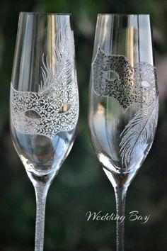 Papel Servilletas Decoupage X 2 copas de champán 25cm