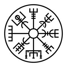 The Wyrding Way VEGVISIR The Vegvisir is essentially a Runic compass. Its origins date back to a 17th century Icelandic grimoire known as the Galdrabok. This symbol is often inscribed in blood on the forehead and imparts a clear sense of direction so the user will not lose their way when traveling, particularly in rough weather.