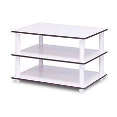White Coffee Table Centerpiece 3-Tier Storage White Modern Small Sofa Living Room Coffee End Table Centerpiece Tall Sturdy Display Table Minimal Simple Rectangular Coffee Table eBook by Easy&FunDeals