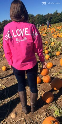Headed to the pumpkin patch? Show off your passion for lacrosse in our adorable statement jersey shirts! This is a must-have Fall item or any lacrosse girl. Lacrosse girls will love the oversized fit of this extra comfortable shirt. Personalize the front of this long sleeve shirt with a monogram to create an extra special gift. Live Love Lax! Only at LuLaLax.com!
