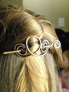 Copper Hair Clips Hair Sticks Hair Fork Hair by ElizabellaDesign, $18.50