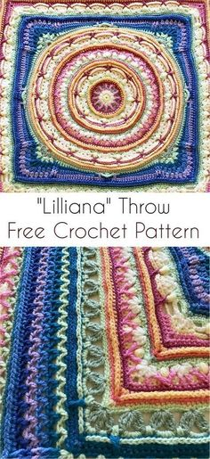 Crochet Afghans Easy The 2017 Lilliana CAL - Free Crochet Pattern Crochet Square Patterns, Crochet Blocks, Crochet Squares, Crochet Blanket Patterns, Crochet Motif, Tunisian Crochet, Crochet Designs, Crochet Stitches, Free Crochet