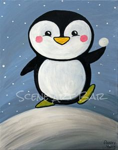 Step-by-Step Children's acrylic painting from Scene Art Bar and Kidz Art Scene. Adorable penguin holding a snowball