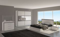 De Bella is een moderne slaapkamer van Italiaans design, uitgevoerd in het hoogglans wit met chromen grepen en is afgewerkt met een zwarte band waar kleine kristallen is verwerkt zijn. Het hoofdbord is bekleed met lederlook en is voorzien van kristallen.